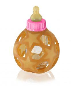 HEVEA skleněná láhev s přírodním kaučukovým dudlíkem a obalem, 0+, růžová